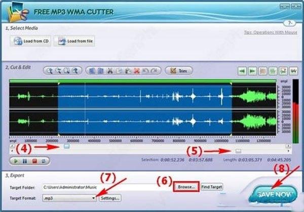 tạo nhạc chuông cho điện thoại với phần mềm free mp3 cutter